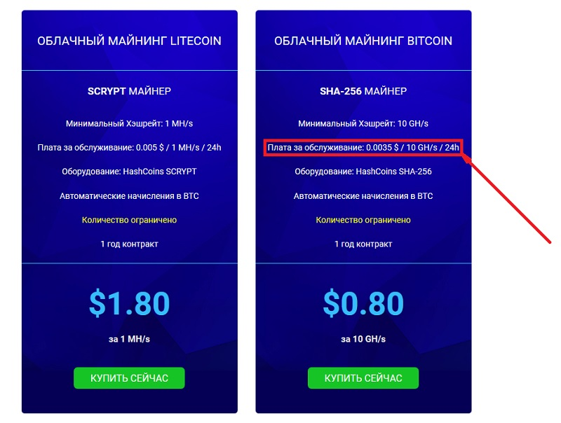 Плата ща свет и обслуживание на Hashflare